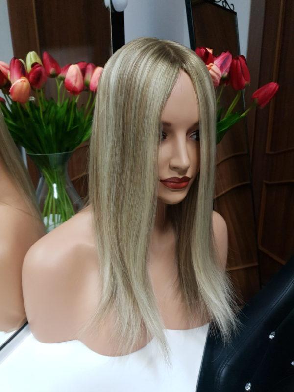 Tupet z włosów słowiańskich z mikroskórą 40cm
