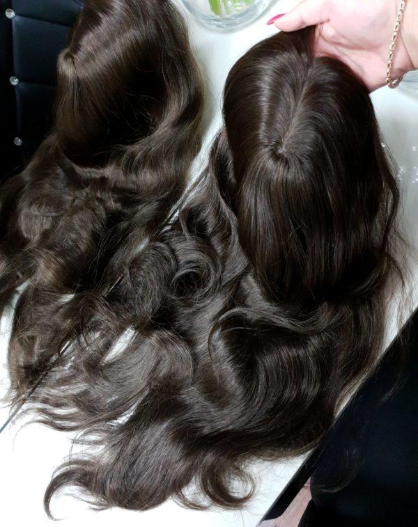 Topper naturalne włosy imitacja skóry 50cm #2 Proste włosy