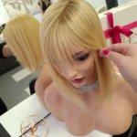 Topper LILY z grzywką –  Włosy naturalne Miodowy blond 30cm